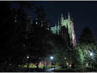 The chapel looks dazzling at night.