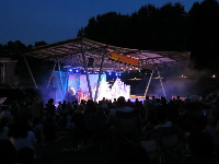 The stage and forest behind.