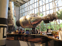 Recreation of the Apollo-Soyuz Test Project, an American and a Russian space capsule met in space in 1975.