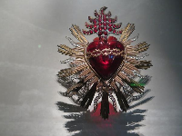 Glass heart from the Catholic chapel at Rancho Camulos, late 1800s.