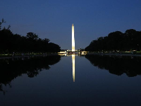 Washington Monument reflected in the pool.
