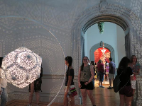 These sacred geometric shapes from Burning Man looked gorgeous in the Renwick Gallery's spaces.