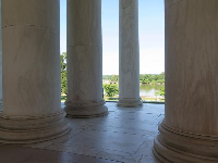 Looking through the columns toward the water.
