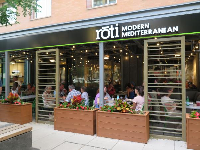 Roti Modern Mediterranean and its nice outdoor seating.