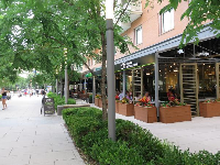 Pedestrian-only area with cafes.