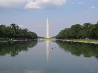 The reflecting pool in the daytime.