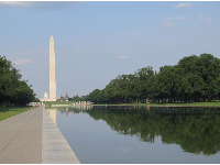 Washington Memorial, US Capitol, and reflecting pool, on the way to the Vietnam Veterans Memorial.