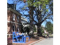 Fraternity bench outside Giles, a co-ed residence hall that was recently renovated.