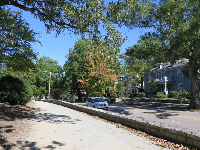 View of historic homes along N. Buchanan Blvd, from the trail that runs along the perimeter of campus.