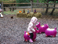 Playing on bouncies at the Pumpkin Patch.
