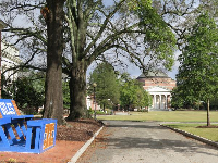 Sorority bench and auditorium in the distance.