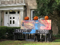 Carved pumpkins outside Jarvis, a substance-free residence hall built in 1912.