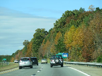 Autumn colors at the freeway exit to Hillsborough.