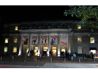 Memorial Hall at night, a concert hall.