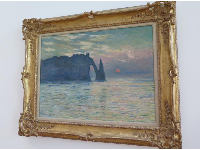 The Cliff, Etretat, Sunset, by Claude Monet. Quite an amazing painting to have in your art museum!
