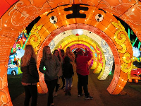 Tunnel of light, with Chinese years explained, for example Year of the Tiger.