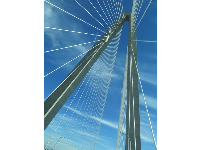 Looking up at the bridge, as a passenger in the car.