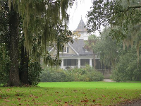 Looking toward the mansion past the Spanish moss.