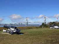 View of the bridge from the parking lot.