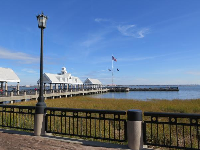 The pier at Waterfront Park, with its porch swings.