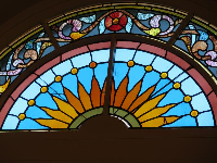 Stained glass in First Scots Presbyterian Church.