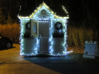 Festive ticket booth for the Santa Train.