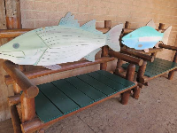 Fish benches outside.