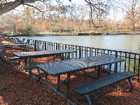 Picnic tables by the lake.