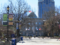 Looking toward the North Carolina State Capital, from the plaza between NC Museum of Natural Sciences and NC Museum of History.