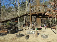 Mud Cafe, in the Kidzone area, and rope bridge above.