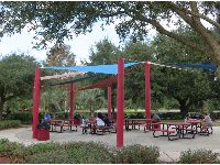 Picnic tables under a canopy.