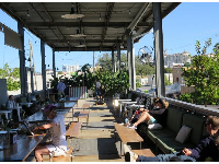 Sunny spots at the outdoor seating.