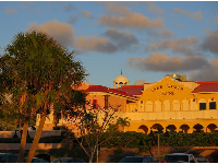 Lake Worth Casino, from the parking lot, at sunset.
