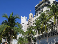 Delano South Beach, and National Hotel, two art deco buildings on Collins Ave.