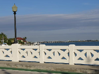 Venetian bridge and causeway in the distance.