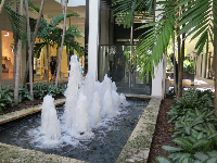 Fountain and glass elevator.