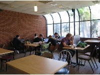 Students studying on a Saturday morning, at Bread and Butter, a bakery on Rosemary Street.