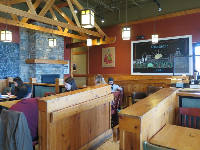 Caribou Coffee has an attractive interior.