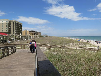 Boardwalk and hotels on the beach.