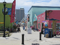 The arcades and shops behind the boardwalk.