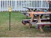 Pineapple decoration and picnic tables behind Short Street vacation rentals.