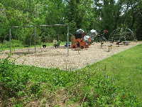 The playground is in the middle of the forest.