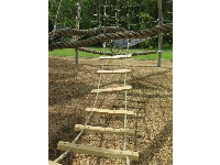 Wooden ladder in the rope structure.