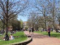 The first warm day and students take to the lawn! April 3.