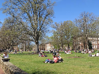 Students sit on the lawn on the first warm day, April 3.