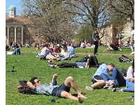 Students enjoying the first warm day, April 3.