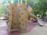 Climbing wall on the play structure.