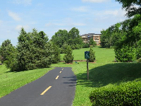 The bike path as it goes up a hill near Raleigh Rd. Idyllic views!