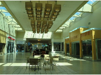 The mall has skylights to let in the sun.