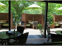 View of the patio, from inside Weathervane Restaurant, in Southern Season store.